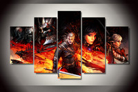 Wholesale 5 Panel No Framed Printed witcher Comics Painting on canvas room decoration print poster picture canvas oil painting