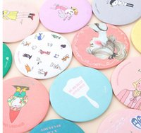 Wholesale Cute Cartoon Small Mirror Metal Around Mini Portable Cosmetic Mirror Color Random