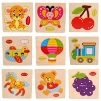 Wholesale 1 PC Hot Stylish Cartoon Wooden Puzzles High Quality Wood Educational Developmental Baby Kids Training Toy D Wooden Puzzle Toy A5