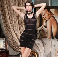 Wholesale Sexy Lingerie Sexy Stockings ladies transparent sheath dress three open crotch dew taste suits sm