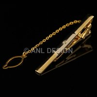 Wholesale 2014 Crystal Men Jewelry Golden Tone Stripe Tie Clips And Box Set For Shirt Wedding Dress Birthday Party Gift TS15 G00 C00 X00