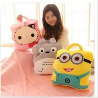 air doll - 2015 AAA quality color minnions doll warm hands pillow cushion coral fleece blankets air conditioning three multi function TOPB1765