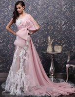 beautiful pictures art - So Beautiful Pink Long Formal Evening Dresses With White Lace Applique Feathers Elegant Prom Dress Sexy Party Gowns Bow Sash Empire Waist