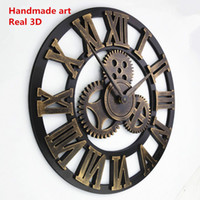 Wholesale DHL ship Handmade Oversized D retro rustic decorative luxury art big gear wooden vintage large wall clock on the wall for gift D008