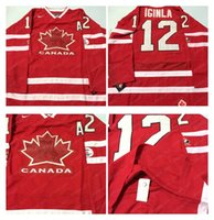 Cheap Mens #12 Iginla A Patch Red 2010 Canada Team Vancouver Winter Olympic Hockey Jerseys Ice International Sports Stitched Premier Authentic