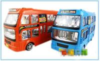 big blue bus - Children s universal educational toys electric car Double decker bus tour big bus Electric universal flash car
