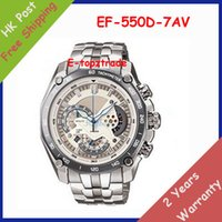 550d - Mens Sports EF D AV Chronograph White Dial Watch EF D A Gent Wristwatch Second Stopwatch Pendulum Swing Function