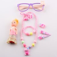 baby doll asian - 2016 New Children Hello Kitty Necklace Jewelry Set Kids Baby Necklace Bracelet Ring Doll Hair Bands Clips Glasses Set T114