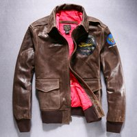 aviator flight suit - Fall Genuine mens leather retro clothing finishing cowhide flight suit turn down collar motorcycle aviator leather jacket male