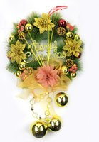 wreath supplies - 2014 Winter Green And Yellow Trees Christmas Wreath Decorations Indoor Hanging Hotel Handmade Wreath Flower Craft Party Supplies ZC
