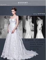 Wholesale 2015 New Style Sexy Lace Wedding Dresses Diamonds A Line Sweetheard Sweep Designer Beaded Wedding Gowns