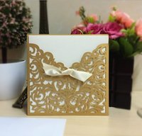 Wholesale Luxury Purple Gold Ivory Laser Cut wedding invations cards High Quality Paper made rsvp cards Bride invitation cards accessories