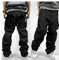 Wholesale men new HIPHOP jeans embroidery loose board long jeans