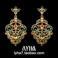 baroque sculptures - Jewelry trade European and American big hollow sculpture solitary Baroque palace retro earrings long earrings