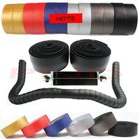 Wholesale New High Quality Cycling Road Bike Sports Bicycle Cork Handlebar Tape Black Bar Plug Carbon fiber belt strap
