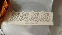 Cheap Free shipping! 400 rose flower candy boxes and 400 napkin rings, laser cut wedding gift candy box with free ribbons
