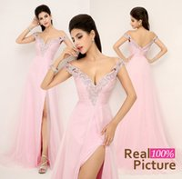 Wholesale Sexy Pink Off Shoulder Backless Formal Evening Prom Gowns Real Image Chiffon Beading Bridal Party Mother Dress In Stock Cheap