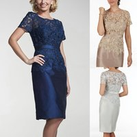 best dress designers - Best Selling Navy Blue Silver Champagne Mother Of The Bride Dresses With Short Sleeves Knee Length Designer Cocktail Party Gowns