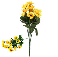 hanging flower basket - 2015 New Fashion Hot Sale Fake Silk Artificial Heads Sunflower Flower Bouquet Floral Garden Home Decor