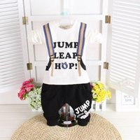 t-shirt bags - 2015 Spring New Arrival Childrens Sets Baby Boys Handsome Korean Style Printing Bag Pattern T Shirts Pants Sets Boys Great Two Pieces Sets