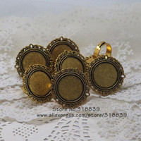 antique filigree ring gold - Adjustable Ring Bases Blanks Cabochon Rings Settings Trendy Antique Gold Zinc Alloy Filigree Jewelry pieces mm