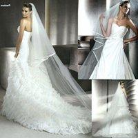 satin ribbon - 2 Layers Meters Ivory White Tulle Wedding Veil Long Bridal Veils Cheap Satin Edge Bridal Cathedral Mantilla Veil With Comb J810