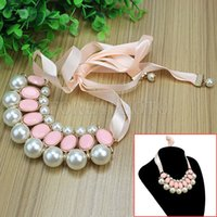 Wholesale Pink Ribbon Chain Bib Imitate Pearl Choker Collar Necklace For Women Ladies New