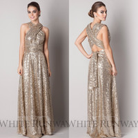 Wholesale Sparkly Rose Gold Cheap Bridesmaid Dresses A Line Halter Cross Back Floor Length Sequins Beach Wedding Gown Light Gold Champagne EA0415