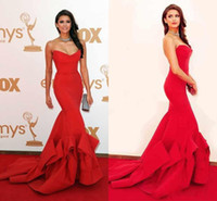 nina dobrev red dress - Nina Dobrev Red Dress Emmy Awards Formal Evening Dress Celebrity Dresses Strapless Ruffles Backless Mermaid Prom Dress Formal Gowns Cheap