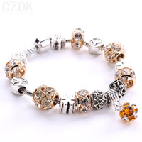 african glass beads - New Arrival Silver Plated Crystal Field of Daisies Murano Glass Crystal European Charm Beads DIY Style Bracelets AA05