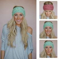 Wholesale New Girl Crochet Headband Knit Hairband Flower Winter Women wrap Ear Warmer Head wrap band accessories