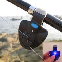 Wholesale BlacK NEW Fishing Alarm Fish Bite Sound Buffer Sea Pole Alarm LED Light Electronic Alarm Clip On Fishing Rod