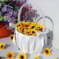 basket case - Ivory Bow Cute Wedding Ceremony Party Love Case Satin Flower Girl Basket Wedding Supplies Flowers Blaskets