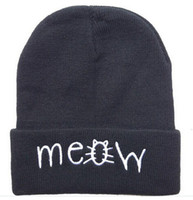 Wholesale 4 new styles meow Beanie hats Black grey solid high quality mens or women winter knitted most popular sports caps new arrive