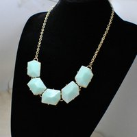 Wholesale Upscale Women Jewelry Light Green Resin Necklace Fashion Retro Gold Plated Statement Sweater Necklaces European And American Style