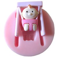 Wholesale 1Pcs Lovely Baby Fondant Mould Baby And Chair Silicone Mold Cake Decorating Tools Soap Mold FM090