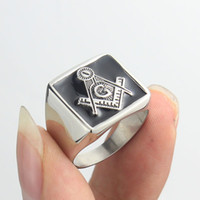 Wholesale Men s Silver Black Freemasonry Free Mason Masonic Stainless Steel Ring Jewelry