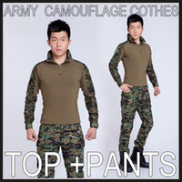 Wholesale Men clothes camouflage army uniform military equipment militar paintball equipment ropa de caza tactical pants with knee pads