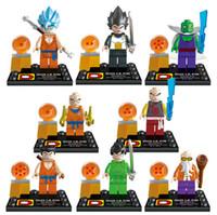ball brick - 8pcs set Super Heroes building blocks Dragon Ball Z Son Goku Vegeta Master Roshi Minifigures kieds toys bricks DLP9007