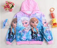 al por mayor chaqueta rosa bebé-otoño Ana elsa bebé niña con capucha 2-8 años levantó rojo / azul niño congelado chaqueta gratis envío 6pcs / lot nuevo llegar envío gratis