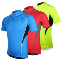 Wholesale Arsuxeo Breathable Men Short Sleeve Cycling Jersey Bicycle Bike Outdoor Summer Sportswear Tops Cloth Zippered with Rear Pockets