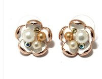 Wholesale rose gold inlay pearls flower lady s earings xysppfh