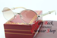 Wholesale High Quality Oval Sunglasses White Buffalo horn Glasses Size MM
