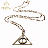 Wholesale The Bronze Circle Triangle Pendant Necklace vintage retro Link Chain Of Harry Potter Deathly Hallows Necklaces For Women And Men