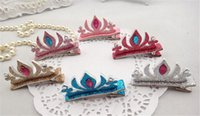 Cheap Frozen Elsa Crown Girl Tiaras Crown Hair Clips For Halloween Costume Baby Hairpin Accessories party
