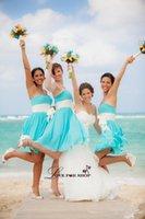 Wholesale Simply Short Chiffon Dresses - Knee Length Bridesmaid Dresses 2015 Strapless Ruffles Chiffon A-Line Simply Cheap Beach Bridesmaid PartyGraduation Dresses with Sash L021215
