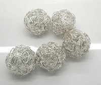 Wholesale 10 Silver Plated Hollow Twist Ball Wire Beads mm