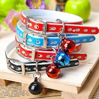Wholesale Lovely small collar with bells cm pet dogs and cats bell oval neck mini pet collar red blue black