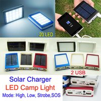 battery usb port - Solar Power bank mah Camping LED lights USB Ports solar charger outdoor lighting SOS function External Battery For Mobile Phone ipad