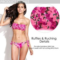 ruffled fabric - RELLECIGA Rose Pink Floral Ruffle Bandeau Bikini Italian Lycra Fabric with Seamless Bottom Bikini Swimwear